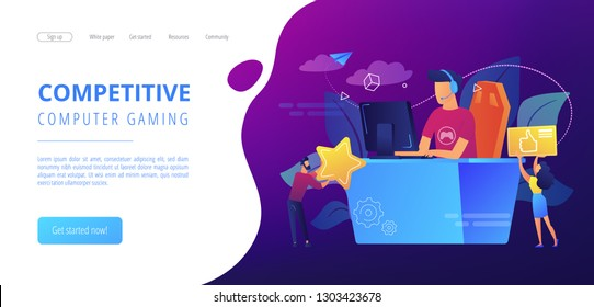 Professional e-sport player at desk playing video game and getting likes. E-sport, cybersport market, competitive computer gaming concept. Website vibrant violet landing web page template.