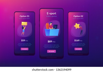 Professional e-sport player at desk playing video game and getting likes. E-sport, cybersport market, competitive computer gaming concept. Mobile UI UX GUI template, app interface wireframe