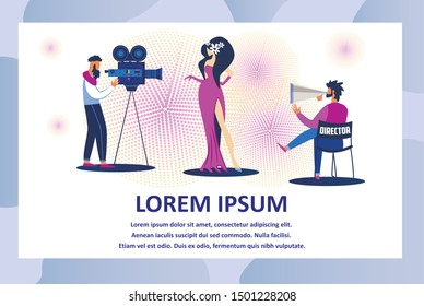 Professional Film Crew Members Making Movie. Operator Using Video Camera on Tripod Shooting Scene with Elegant Actress in Long Dress Playing Role. Cartoon Flat Vector Illustration, Horizontal Banner