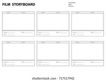 Professional film storyboard. Storyboard template for film story