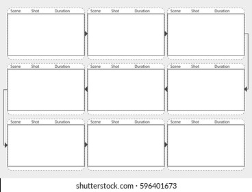 Professional film storyboard vector mockup. Movie story board layout template with shot and scene