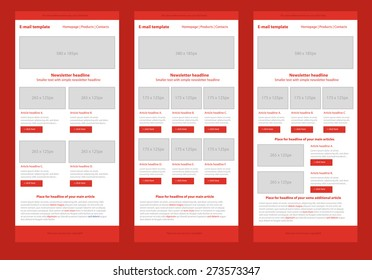 Professional flat style newsletter red template