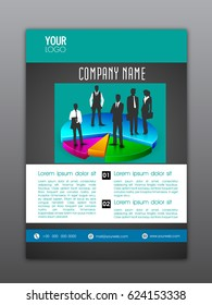 Professional Flyer, Template or Corporate Banner design with silhouette of business people standing on colorful pie chart.