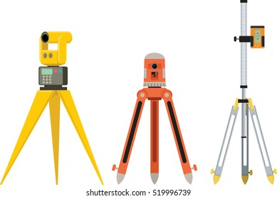 Professional geodetic optical measuring devices. Laser level, tachymeter, theodolite, surveying measurement engineering instruments. Industrial construction optical tools on tripod. Isolated on white