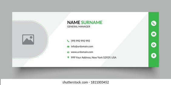 Professional geometric business and corporate email signature with an author photo place. Modern and minimalist layout white background and green shape design