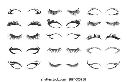 Professional glamor makeup. Set for growing the eyelashes isolated on white background. Bottled eyelashes of girls. Natural effect mascara. Black and white vector illustration of closed eyes.