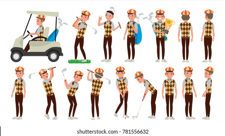 Professional Golf Player Vector. Playing Golfer Male. Different Poses. Isolated On White Cartoon Character Illustration