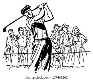 Professional Golfer - Retro Clip Art Illustration