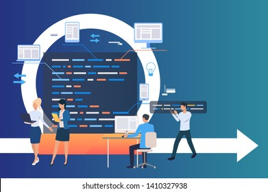 Professional group working on project. Process, work on computer, integration. Business concept. Vector illustration can be used for topics like software development, agile management, scrum meeting