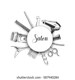 Professional hairdresser tools with copy space, Hand Drawn Sketch Vector illustration.