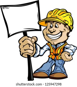 Professional Handy Man with Sign and Hard Hat Vector Illustration