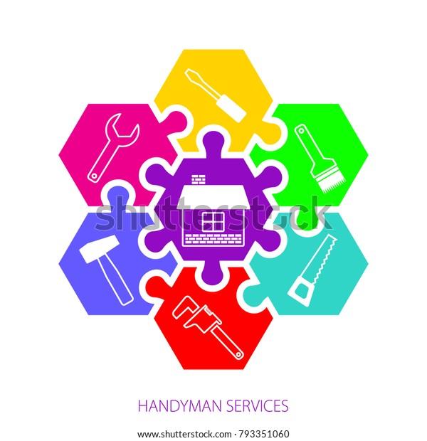 Professional Handyman Services Logo Concept Handyman Stock