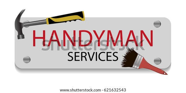 Professional Handyman Services Logo Hammer Brush Stock