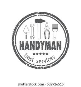 Professional handyman services logo. Set of repair tools. Stock vector. Flat design.