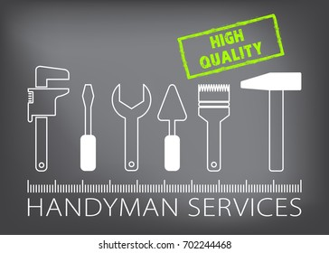 Professional handyman services logo. Silhouette of tools for repair. High quality stamp. Stock vector. Flat design.