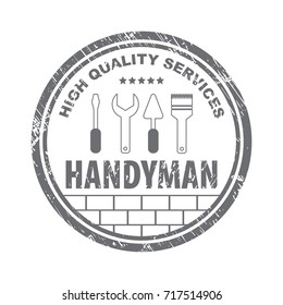 Professional handyman services logo.  Stamp handyman services in gray.  Stock vector. Flat design.