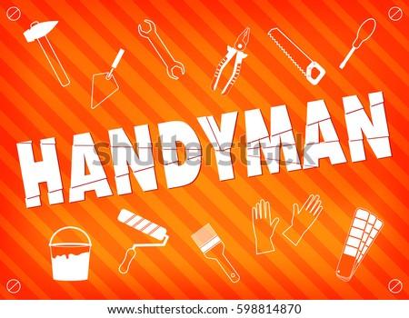 Professional Handyman Services Orange Set Repair Stock