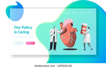 Professional Health Care Landing Page. Doctor with Stethoscope listen Human Heartbeat. Woman Carry Drug Container. Female in Medical Gown hold Pill Concept for Website Flat Cartoon Vector Illustration