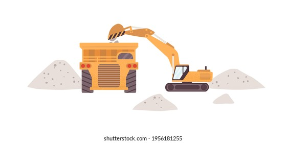 Professional heavy equipment and machinery for mine industry. Yellow excavator with scoop loading marble into dump truck. Flat vector illustration of industrial transport isolated on white background