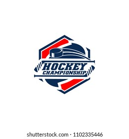 Professional hockey badge logo design icon template. Sport team identity emblem vector illustration