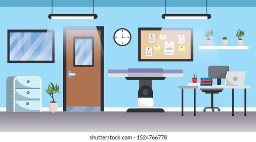 professional hospital with medical stretcher and desk vector illustration