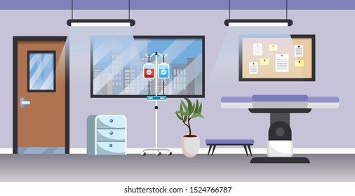 professional hospital with medical stretcher and window vector illustration
