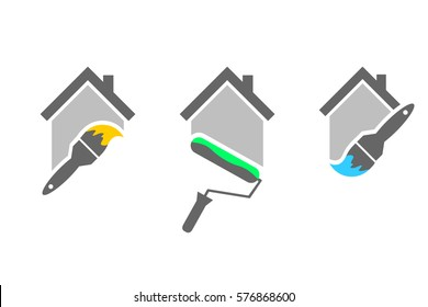 Professional house painter logo set with paint brush and roller