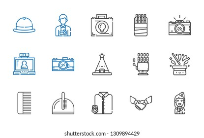 professional icons set. Collection of professional with stewardess, handshake, suit and tie, comb, hat, hand, photo camera, video call. Editable and scalable professional icons.