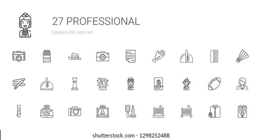 professional icons set. Collection of professional with volley, comb, video call, camera, tie, pilot, photo camera, hat, chess piece. Editable and scalable professional icons.