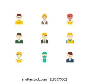 Professional icons set. Indian worker and professional icons with office boss, doctor and engineer. Set of director for web app logo UI design.