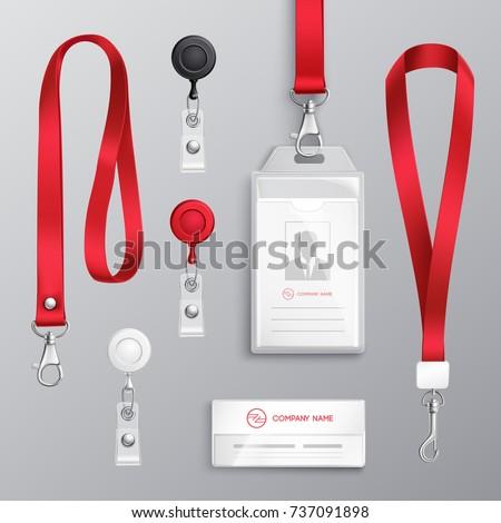 professional identification card id badges holders のベクター画像