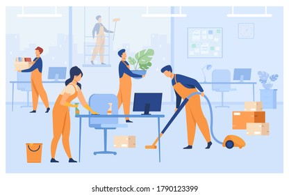 Professional janitors working in office isolated flat vector illustration. Cartoon cleaning team washing, holding stuff, removing dust, using vacuum cleaner. Clean service and hygiene concept