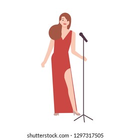 Professional jazz singer, vocalist or songstress wearing elegant red evening dress and holding microphone stand. Female cartoon character isolated on white background. Flat vector illustration.