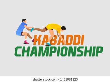 Professional Kabaddi playing players. Kabaddi Championship banner, logo design, poster, concept, template, label, card, greeting, icon, sale, offer, web header, mnemonic on grey background - Vector