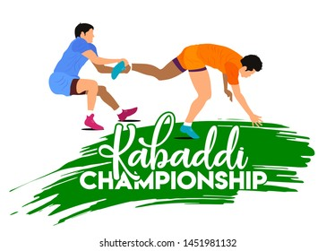 Professional Kabaddi playing players. Kabaddi Championship banner, logo design, poster, concept, template, label, card, greeting, icon, sale, offer, web header, mnemonic on white background - Vector