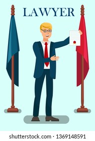 Professional Lawyer Services Flat Poster Template. Federal Prosecutor Showing Warrant of Arrest. Attorney, Solicitor, Defender, Barrister Presenting Documents, Proofs of Innocence in Legal Process