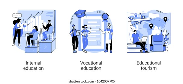 Professional learning abstract concept vector illustration set. Internal and vocational education, educational tourism, business coach, student group, education abroad, vacation abstract metaphor.