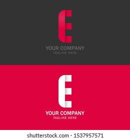 Professional letter E sign symbol design template elements. Uppercase style with red color for simple business identity. Can be used for logo, corporate identity style, pointer, application icon.