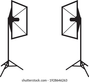 Professional lighting. Black and white drawing. Vector