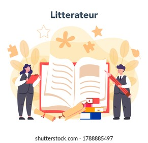 Professional literary scholar or critic concept. Scientist studying and research works of literature, history of literature, genres, and literary criticism. Flat vector illustration