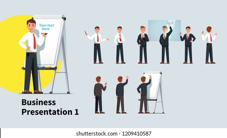 Professional looking business teacher man giving presentation or lecture on a modern flipchart poses set. Businessman writing on flipchart and transparent glass board. Flat isolated vector illustratio