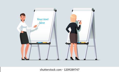 Professional looking business woman giving presentation or lecture on a modern flipchart. Businesswoman writing on flipchart and pointing a pointer stick. Flat style isolated vector illustration