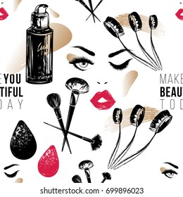 Professional makeup artist background. Vector seamless pattern with makeup brushes, powder puff, natural concealer, beautyblender, woman face. Fashion illustration. Hand drawn art in watercolor style.
