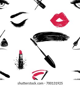Professional makeup artist background. Vector seamless pattern with mascara wand, lipstick smear and brush, makeup pencils, eyeliner stroke, woman eyes, red lips mouth. Fashion illustration.