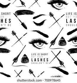 Professional makeup artist background. Vector seamless pattern with makeup tools and signs, life is short but your lashes shouldn't be text. Hand drawn fashion illustration in watercolor style.