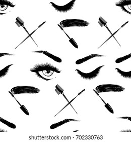 Professional makeup artist background. Vector seamless pattern with mascara wand, brow comb brush, woman open and close eyes. Hand drawn fashion illustration in watercolor style.