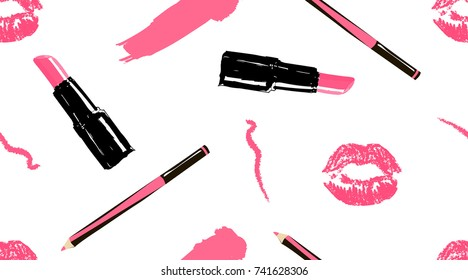 Professional makeup artist background. Vector seamless pattern with lipstick smear and brush, makeup pencils