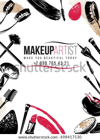 Professional makeup artist business card banner stock vector professional makeup artist business card and banner background black fashion illustration on white backdrop colourmoves