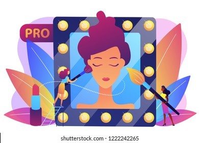 Professional makeup artists applying make up with brush on woman face in mirror. Professional makeup, pro makeup artistry, makeup artist work concept. Bright vibrant violet vector isolated
