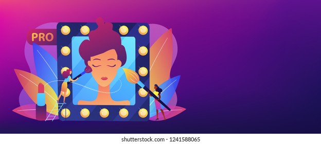 Professional makeup artists applying make up with brush on woman face in mirror. Professional makeup, pro artistry, makeup artist work concept. Header or footer banner template with copy space.